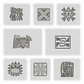 ������, ������: set of monochrome icons with American Indians relics dingbats characters part 8
