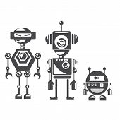 stock photo of robot  - Flat design style robots and cyborgs - JPG