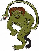 image of snake-head  - Illustration of Humbaba a monstrous giant with head a mountain goat ram and ending in a snake - JPG