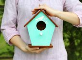 picture of nesting box  - Decorative nesting box in female hands on bright background - JPG