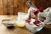 pic of white sugar  - Making candied rose flower petals with egg whites and sugar - JPG