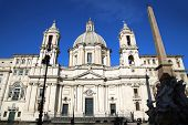 picture of obelisk  - Saint Agnese in Agone with Egypts obelisk in Piazza Navona Rome Italy  - JPG