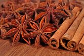 pic of cinnamon sticks  - Star anise and cinnamon sticks on a wooden background - JPG