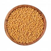 pic of mustard seeds  - White mustard seeds in a wooden bowl on a white background - JPG