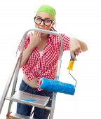 stock photo of amaze  - Amazed woman with roller ready for wall painting or new home renovating isolated on white - JPG