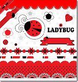 picture of ladybug  - Ladybug Collection Scrapbooking vector art illustration cute - JPG