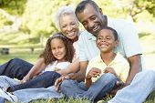 stock photo of extend  - African American Grandparents With Grandchildren Relaxing In Park - JPG