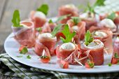 picture of south tyrol  - Mozzarella balls with delicious South Tyrolean smoked bacon - JPG