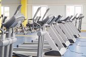 pic of treadmill  - image of treadmills in a fitness hall - JPG
