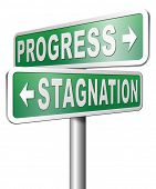 picture of stagnation  - progress or stagnation innovation or stand still and no market or economy and business growth - JPG