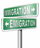 picture of economics  - immigration or emigration political or economic migration by refugees or moving across the border by economic migrants - JPG