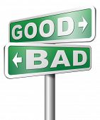 stock photo of morals  - good bad a moral dilemma about values right or wrong evil or honest ethics 