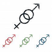 stock photo of gender  - Colored grunge icon set with gender symbols - JPG