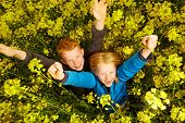 stock photo of rape  - young Boy and girl in rape field - JPG