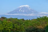 picture of mount fuji  - View of Mount Fuji with snow on summit - JPG