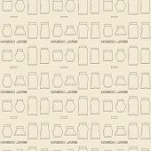 picture of mason  - Mason jars linear icon set seamless texture - JPG