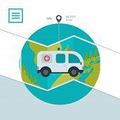pic of ambulance  - Ambulance car icon in flat design style - JPG