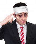 pic of bruised  - Man with bruised eyes and head funny businessman isolated on white background - JPG