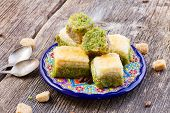 image of baklava  - turkish delights - baklava sweets on plate