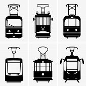 foto of tram  - Set of six trams on grey background - JPG