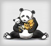 image of panda  - Panda sitting with her child and a little tiger cub - JPG