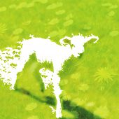 foto of spring lambs  - Abstract new Spring Lamb illustration created from negative space on fresh green meadow background with flowers and grass - JPG