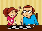 stock photo of father daughter  - Happy father and daughter playing chess together on occasion of Father - JPG