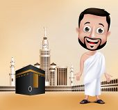 stock photo of muslim  - 3D Realistic Muslim Man Character Wearing Ihram Clothes Performing Hajj or Umrah with Kaaba and Golden Clock Tower in Makkah Background - JPG