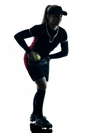 pic of softball  - one woman playing softball players in silhouette isolated on white background - JPG
