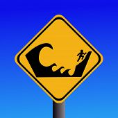 stock photo of prone  - Warning Tsunami prone area seek higher ground - JPG