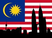 image of petronas towers  - Kuala Lumpur skyline and Petronas Towers with flag illustration - JPG