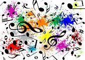 stock photo of g-spot  - Abstract illustration of a musical background with music notes - JPG