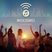 Постер, плакат: Music Genres Style Design Electronic Jazz Rock Concept