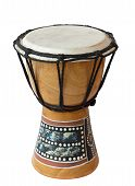 stock photo of cultural artifacts  - An African drum isolated over white background.