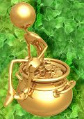 3D Pot Of Gold St Patrick'S Day Concept poster