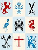pic of porpoise  - Set of heraldic symbols - lion, fleur de lys, swords, heron, pineapple, porpoise with trident, cross keys, crucifix and gryphon.