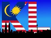 pic of petronas towers  - Kuala Lumpur skyline and Petronas Towers with flag text illustration JPEG - JPG