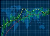 Stock market graph against world map