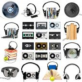 Collection of various audio gear on white background