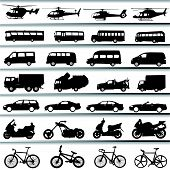 stock photo of dragster  - set of transportation silhouette illustration design vector - JPG