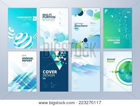 poster of Set of brochure, annual report, flyer design templates in A4 size. Vector illustrations for business presentation, business paper, corporate document cover and layout template designs.