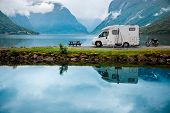Family vacation travel RV, holiday trip in motorhome, Caravan car Vacation. Beautiful Nature Norway  poster