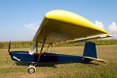 Ultralight aircraft parked in an airfield