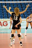 DEBRECEN, HUNGARY - JULY 9: Julia Milovits (in black 18) in action a CEV European League woman's vol