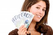 foto of colombian currency  - beautiful girl with money  - JPG