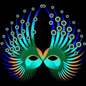stock photo of mardi gras mask  - A Mardi Gras mask is featured in an abstract background illustration - JPG