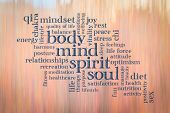 body, mind, spirit and soul cloud - text against motion blurred landscape abstract poster
