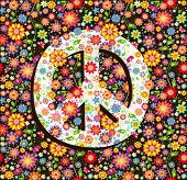 Hippie wallpaper with flowers print and peace symbol poster