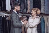 Business Meeting, Moneybags. Date, Couple, Love, Man And Woman. Woman In Fur Coat With Man, Shopping poster