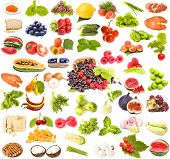 foto of healthy food  - large collection tasty healthy food on  white background - JPG